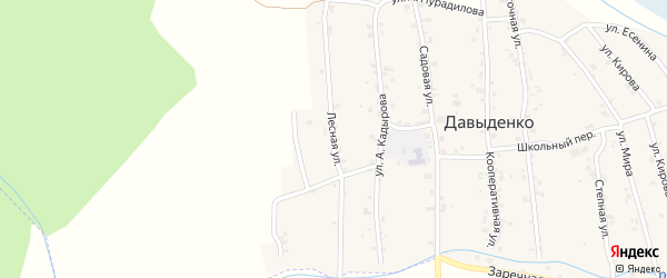 Лесная улица на карте села Давыденко с номерами домов