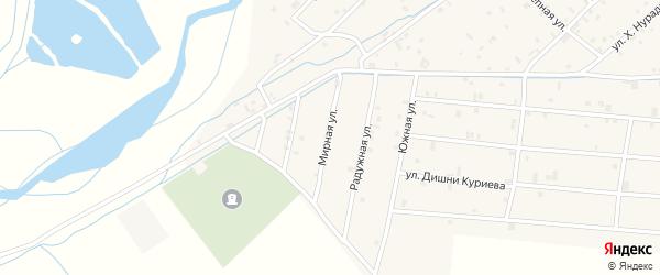 Мирная улица на карте села Ачхой-мартана с номерами домов