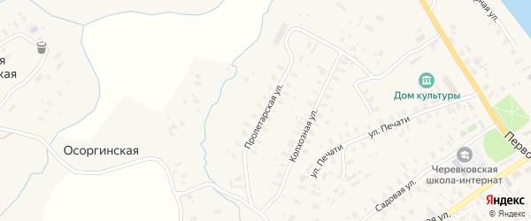 Пролетарская улица на карте села Черевково с номерами домов