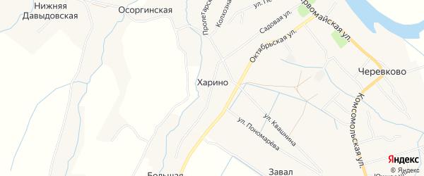 Карта деревни Харино в Архангельской области с улицами и номерами домов