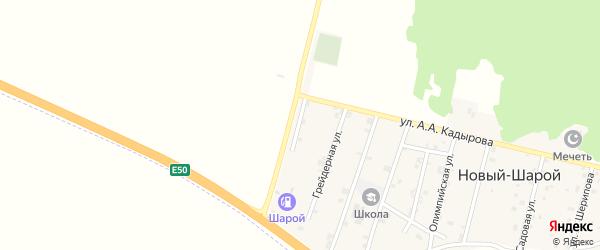 Заправочная улица на карте села Новый-Шарой с номерами домов