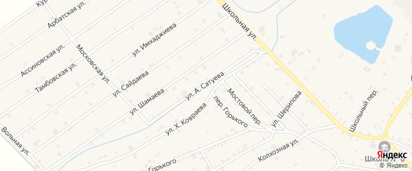Улица А.Устарханова на карте села Ачхой-мартана с номерами домов