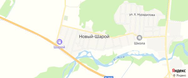 Карта села Новый-Шарой в Чечне с улицами и номерами домов