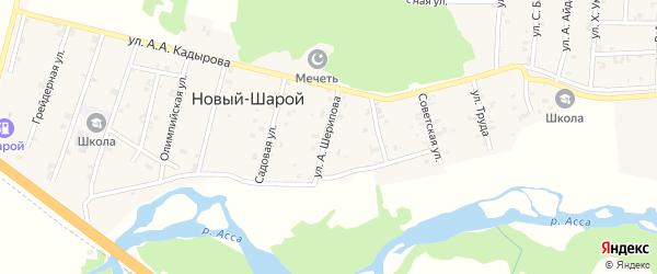 Центральная улица на карте села Новый-Шарой с номерами домов