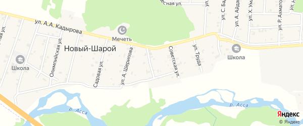 Советская улица на карте села Новый-Шарой с номерами домов