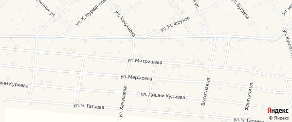 Улица А.С.Митришева на карте села Ачхой-мартана с номерами домов