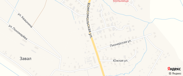 Комсомольская улица на карте села Черевково с номерами домов