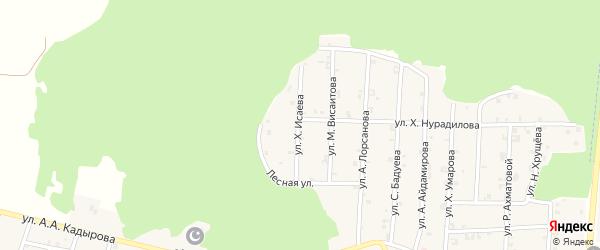 Улица Х.Исаева на карте села Новый-Шарой с номерами домов