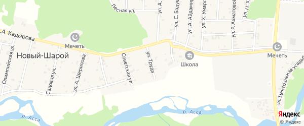 Улица Мира на карте села Новый-Шарой с номерами домов