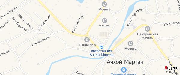 Школьный переулок на карте села Ачхой-мартана с номерами домов