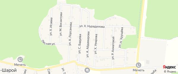 Улица Абузара Айдамирова на карте села Новый-Шарой с номерами домов