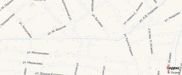 Переулок 1-й Орехова на карте села Ачхой-мартана с номерами домов