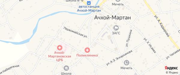 Первомайская улица на карте села Ачхой-мартана с номерами домов