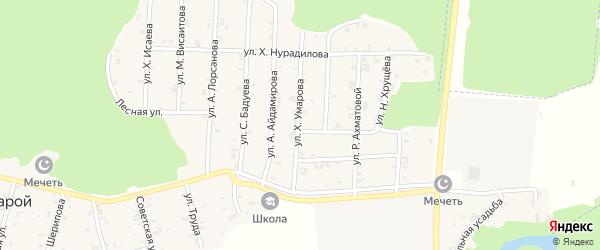 Улица Х.Умарова на карте села Новый-Шарой с номерами домов