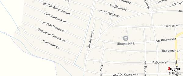 Западная улица на карте села Самашки с номерами домов