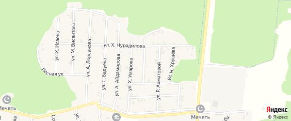 Улица М.Эсамбаева на карте села Новый-Шарой с номерами домов
