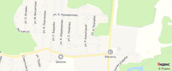 Улица Р.Ахматовой на карте села Новый-Шарой с номерами домов