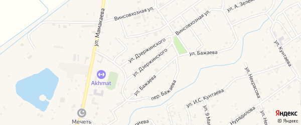 Улица Ф.Э.Дзержинского на карте села Ачхой-мартана с номерами домов