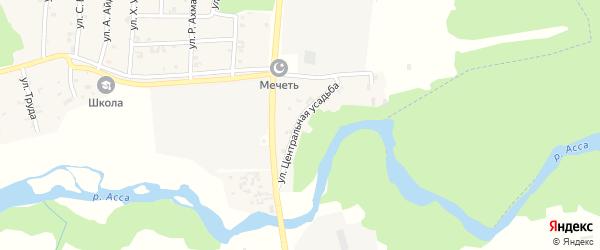 Улица Центральная усадьба на карте села Новый-Шарой с номерами домов