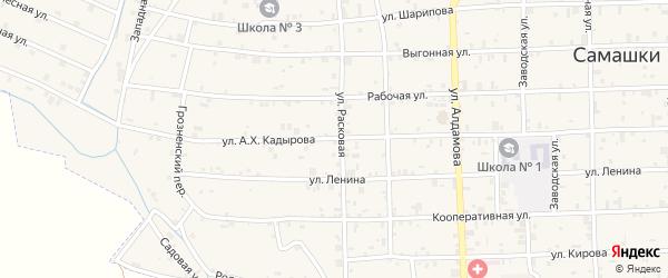 Улица А.Кадырова на карте села Самашки с номерами домов