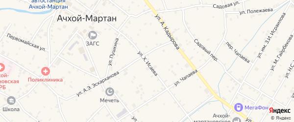 Улица Х.Исаева на карте села Ачхой-мартана с номерами домов