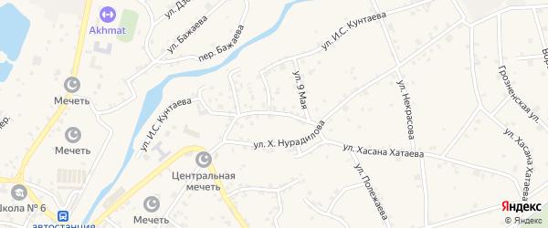 Улица Ю.Дешериева на карте села Ачхой-мартана с номерами домов