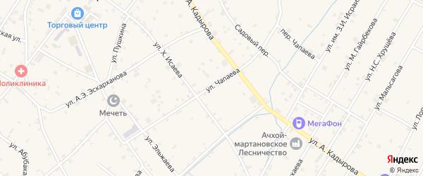 Улица В.И.Чапаева на карте села Ачхой-мартана с номерами домов