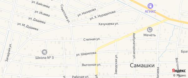 Степная улица на карте села Самашки с номерами домов