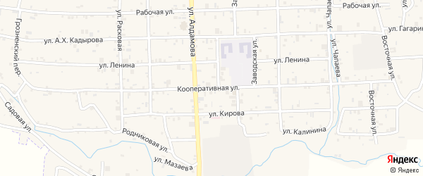 Кооперативная улица на карте села Катар-Юрт с номерами домов