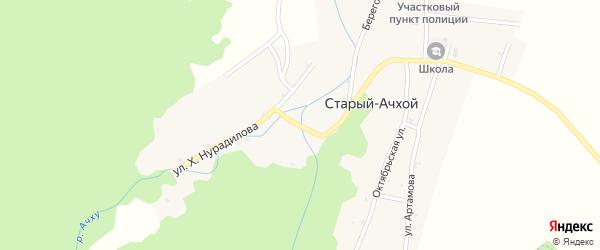 Улица Х.Нурадилова на карте села Старый-Ачхой с номерами домов