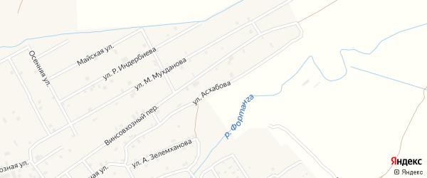 Улица Р.М.Асхабова на карте села Ачхой-мартана с номерами домов