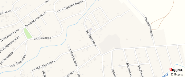 Улица И.С.Кунтаева на карте села Ачхой-мартана с номерами домов