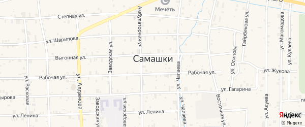 Вокзальный переулок на карте села Самашки с номерами домов
