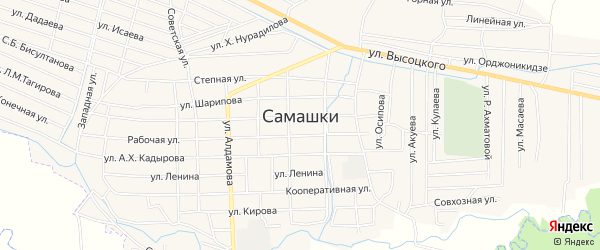 Карта села Самашки в Чечне с улицами и номерами домов