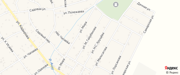 Улица М.Гайрбекова на карте села Ачхой-мартана с номерами домов