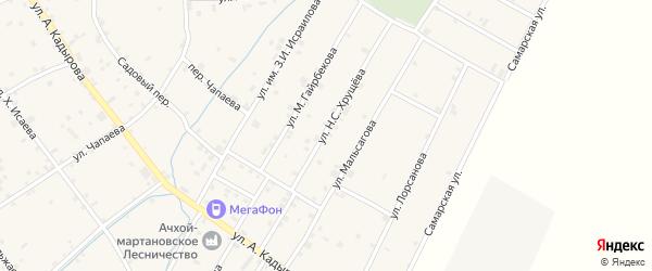 Улица Н.С.Хрущева на карте села Ачхой-мартана с номерами домов