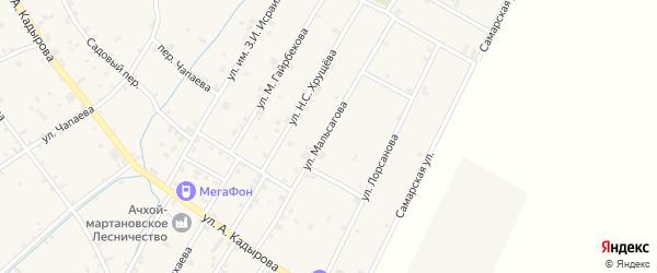 Улица Д.Г.Мальсагова на карте села Ачхой-мартана с номерами домов