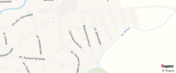 Воронежская улица на карте села Ачхой-мартана с номерами домов