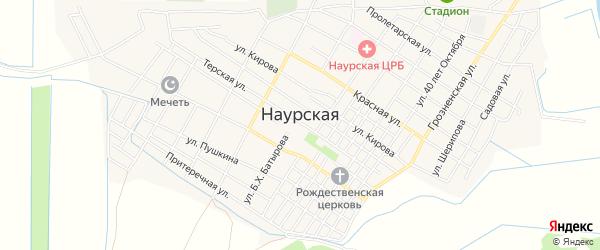 Карта Наурская станицы в Чечне с улицами и номерами домов