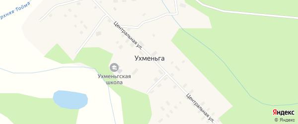 Центральная улица на карте поселка Ухменьги с номерами домов
