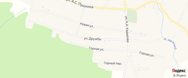 Улица Дружбы на карте села Янди с номерами домов