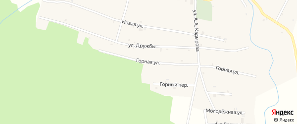 Горная улица на карте села Янди с номерами домов