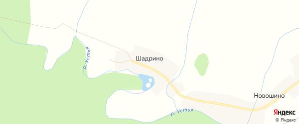 Карта деревни Шадрино в Архангельской области с улицами и номерами домов