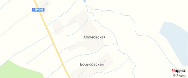 Карта Холмовской деревни в Архангельской области с улицами и номерами домов