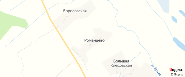Карта деревни Романцево в Архангельской области с улицами и номерами домов