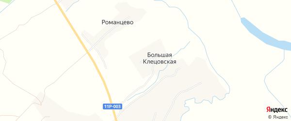 Карта Большей Клецовской деревни в Архангельской области с улицами и номерами домов
