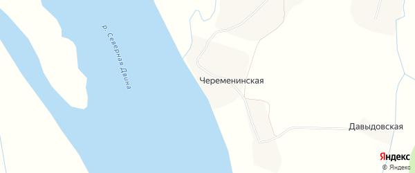 Карта Череменинской деревни в Архангельской области с улицами и номерами домов