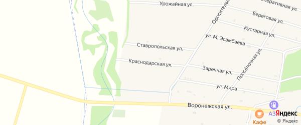 Краснодарская улица на карте села Катар-Юрт с номерами домов