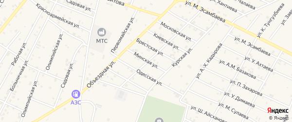 Минская улица на карте Надтеречного села с номерами домов