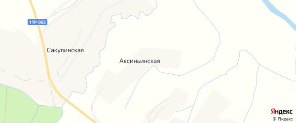 Карта Аксиньинской деревни в Архангельской области с улицами и номерами домов